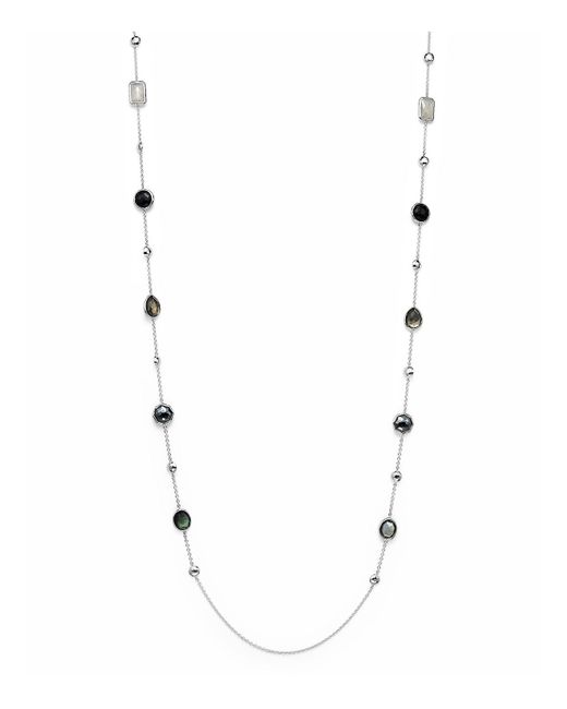 Ippolita | Multicolor Sterling Silver Rock Candy Medium Stone With Beads Station Necklace In Black Tie, 42"