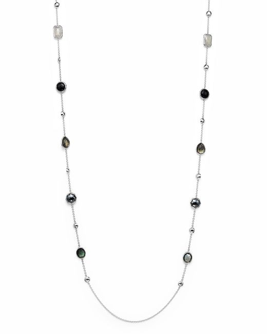 """Ippolita   Multicolor Sterling Silver Rock Candy Medium Stone With Beads Station Necklace In Black Tie, 42""""   Lyst"""