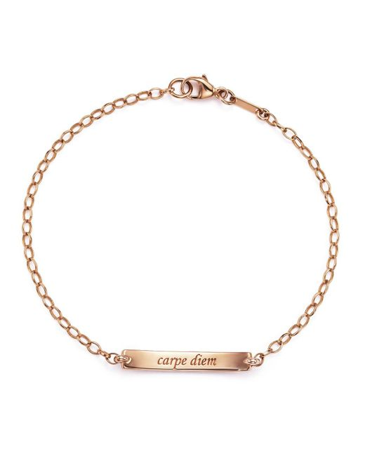 "Monica Rich Kosann | Metallic 18k Rose Gold ""carpe Diem"" Poesy Id Bracelet With Diamonds | Lyst"