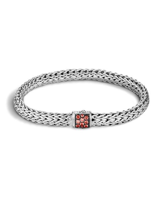 John Hardy | Metallic Classic Chain Sterling Silver Lava Small Bracelet With Red Sapphire | Lyst