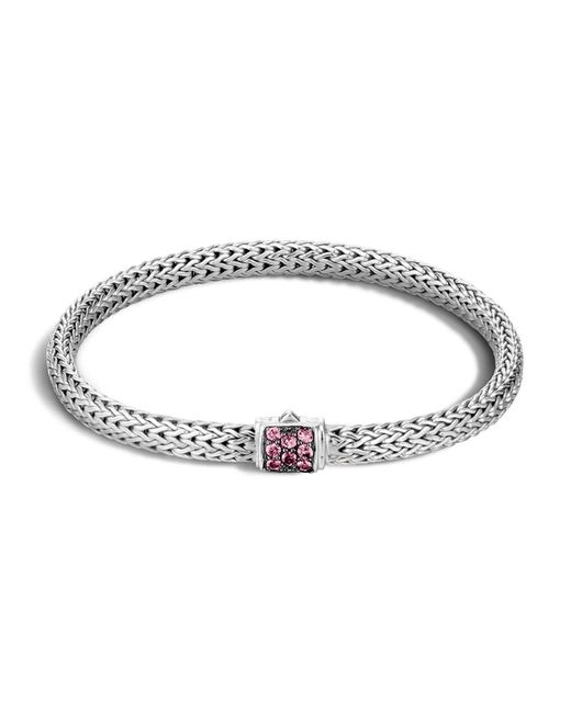 John Hardy | Classic Chain Sterling Silver Lava Extra Small Bracelet With Pink Spinel | Lyst