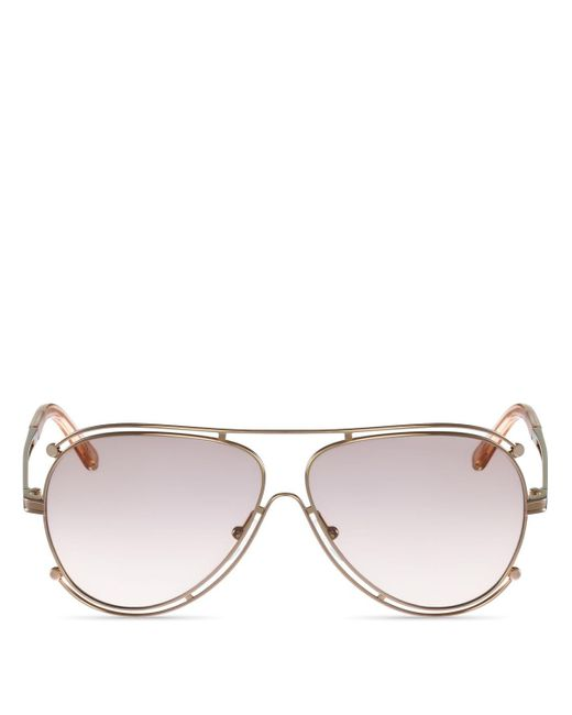 Chloé | Pink Isidora Aviator Sunglasses, 61mm | Lyst