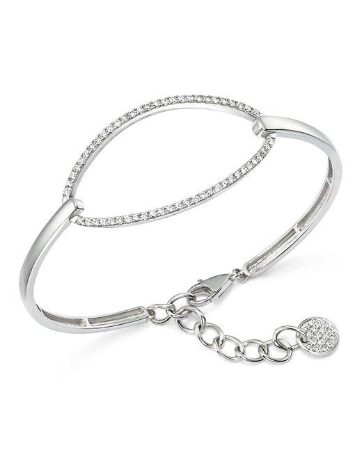 KC Designs   Metallic Diamond Oval Bangle Bracelet In 14k White Gold   Lyst