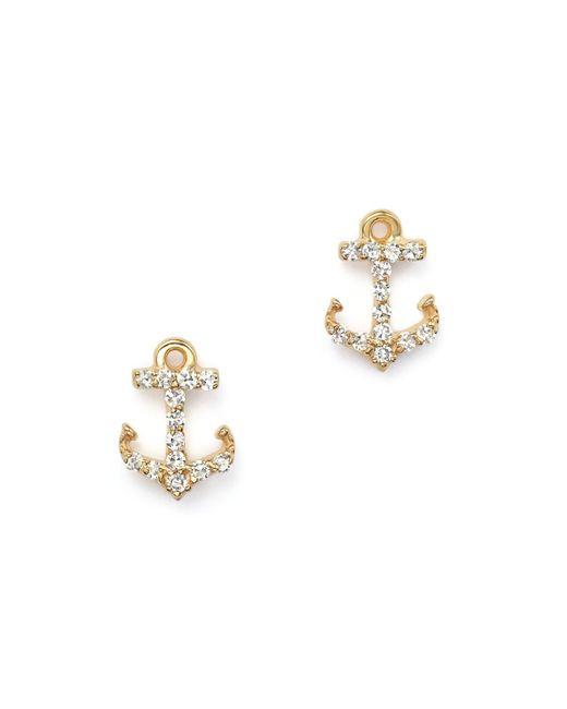 KC Designs | Metallic Diamond Anchor Earrings In 14k Yellow Gold | Lyst