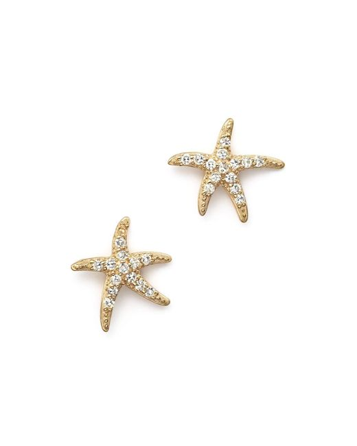 KC Designs | Metallic Diamond Starfish Earrings In 14k Yellow Gold | Lyst