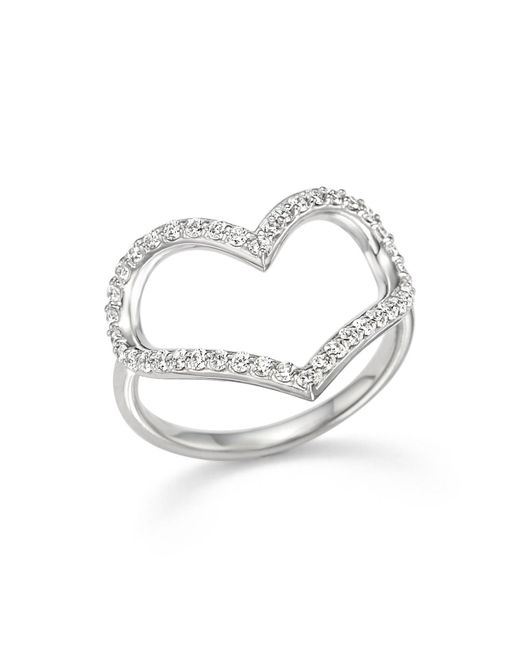 KC Designs | Metallic Diamond Heart Ring In 14k White Gold | Lyst