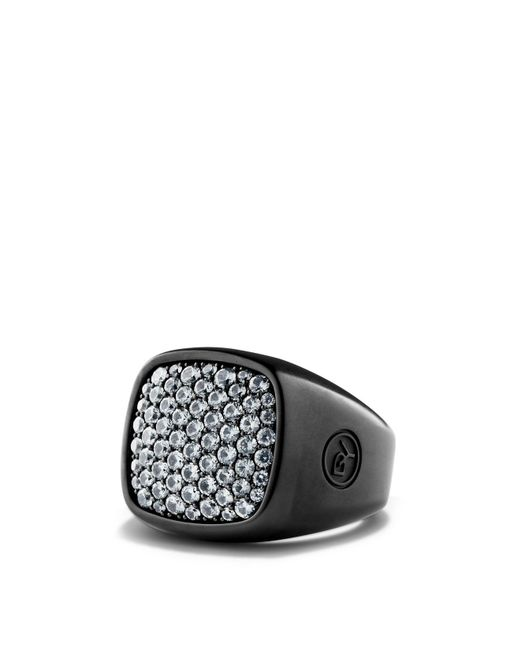 David Yurman | Gray Pavé Ring With Grey Sapphire In Black Titanium for Men | Lyst