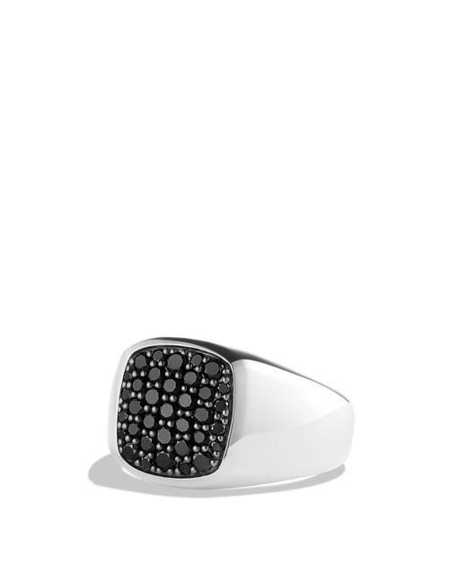 David Yurman | Pavé Signet Ring With Black Diamonds In Silver for Men | Lyst