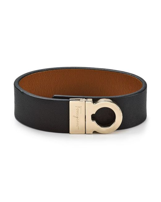 Ferragamo | Black Leather Sienne Gancini Wrap Bracelet | Lyst