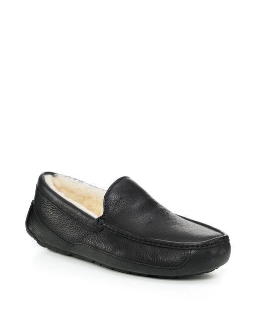 Ugg | Brown Australia Ascot Leather Slippers for Men | Lyst