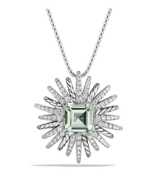 David Yurman | Green Starburst Necklace With Diamonds And Prasiolite In Silver | Lyst