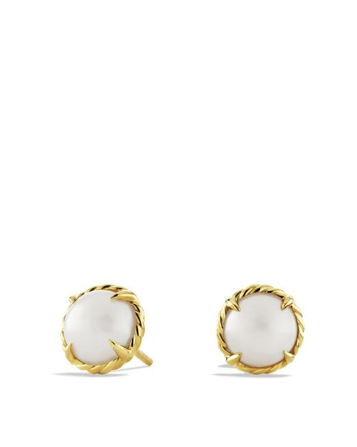 David Yurman | White Châtelaine Earrings With Cultured Pearls In 18k Gold | Lyst
