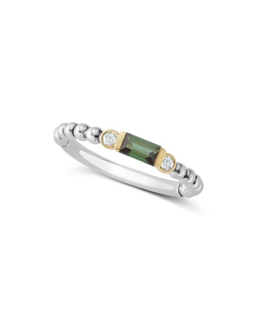 Lagos - Metallic 18k Gold & Sterling Silver Green Tourmaline & Diamond Stacking Ring - Lyst