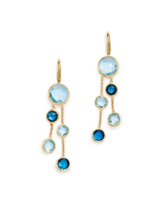 Marco Bicego - 18k Yellow Gold Jaipur Mixed Blue Topaz Double Strand Earrings - Lyst