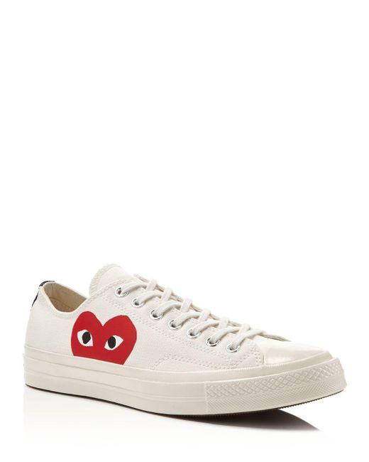 Play Comme des Garçons | Red Large Emblem Low Top Canvas Sneakers | Lyst