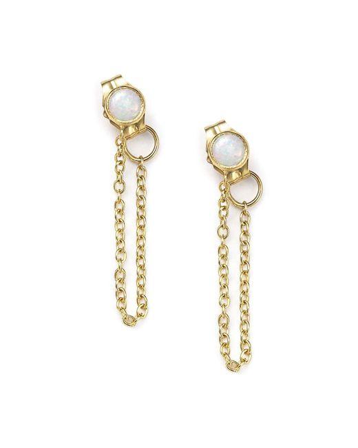 Zoe Chicco | Metallic 14k Yellow Gold Draped Chain And Opal Stud Earrings | Lyst