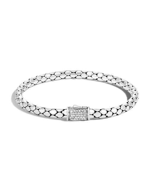 John Hardy | Metallic Sterling Silver Dot Slim Chain Bracelet With Diamonds | Lyst