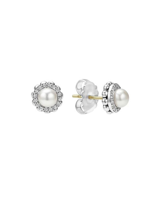 Lagos | Metallic Sterling Silver Luna Cultured Freshwater Pearl Fluted Stud Earrings With Diamonds | Lyst