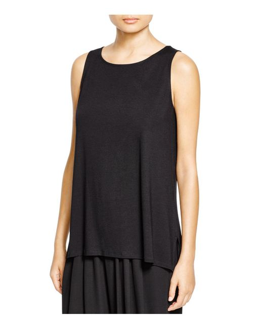 Eileen Fisher | Black Boat Neck Tank | Lyst