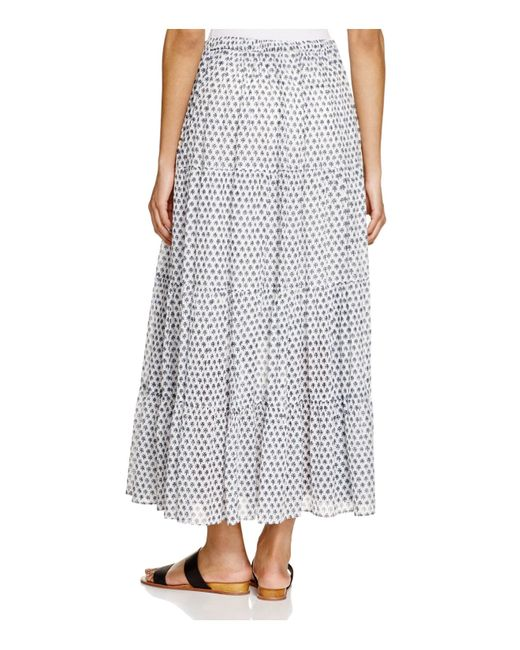 scotch soda tiered maxi skirt in white white blue