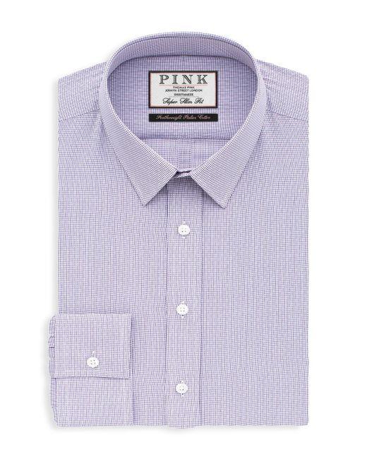 Thomas pink hicks check button down shirt bloomingdale 39 s for Super slim dress shirts