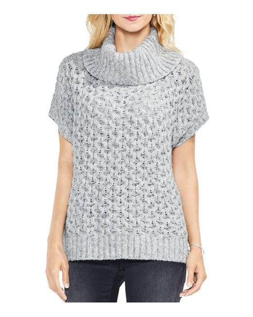 Vince Camuto | Gray Turtleneck Honeycomb Sweater | Lyst