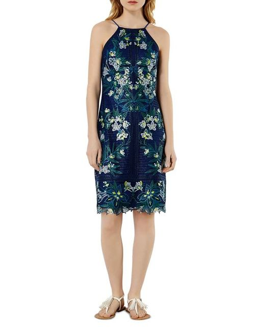 Karen millen tropical embroidered lace dress in black lyst