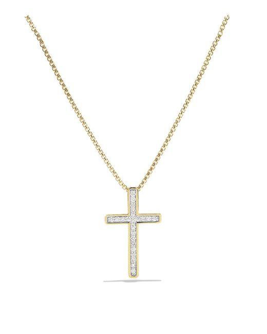 David Yurman | Metallic Petite Pavé Cross Necklace With Diamonds In Gold | Lyst