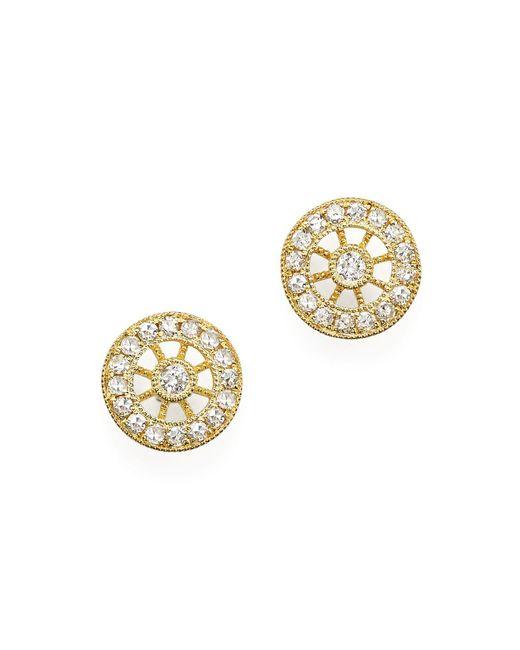 Meira T   Metallic 14k Yellow Gold Filigree Charm Stud Earrings With Diamonds   Lyst