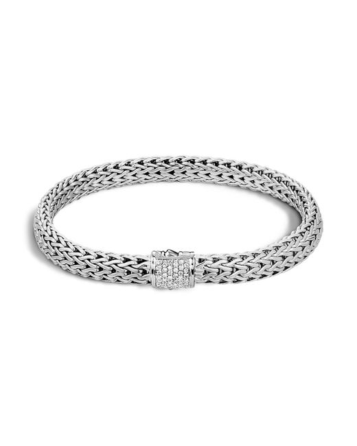 John Hardy - Metallic Classic Chain Sterling Silver Small Bracelet With Diamond Pavé - Lyst