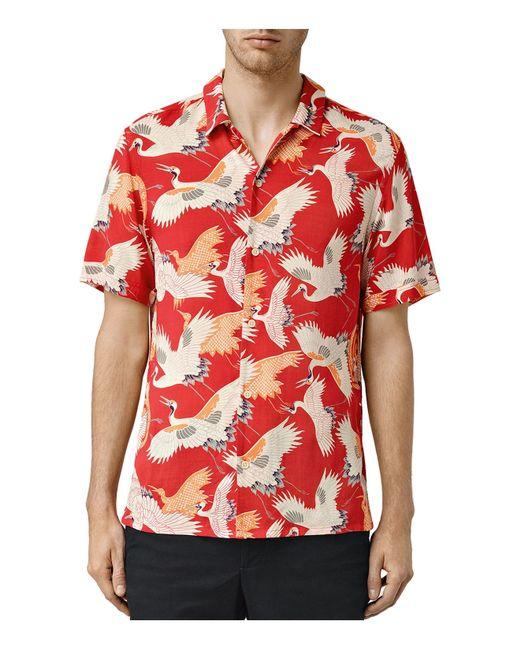 Allsaints tsuru bird short sleeve slim fit button down for White short sleeve button down shirts for men