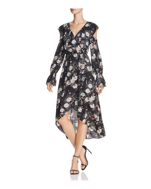 Aqua | Black Cold-shoulder Faux-wrap Dress | Lyst