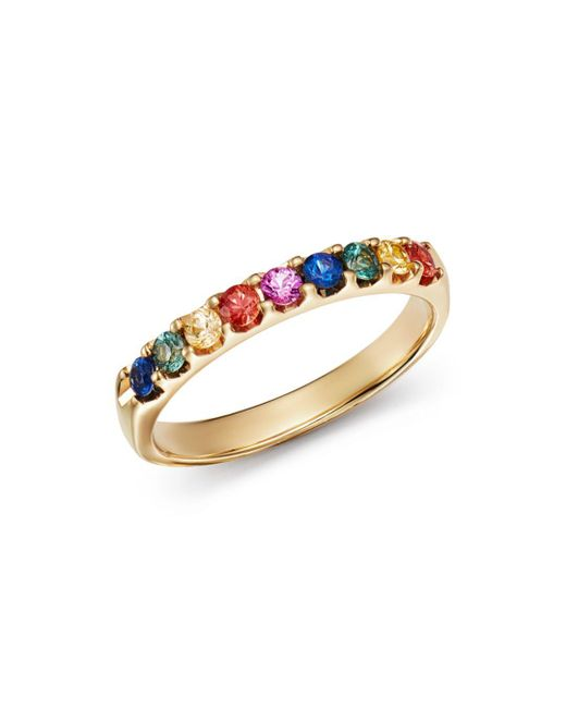 Bloomingdale's - Metallic Multicolored Sapphire Ring In 14k Yellow Gold - Lyst