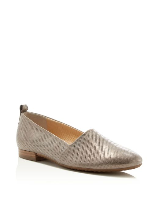 paul green anita metallic perforated loafer flats in silver light beige lyst. Black Bedroom Furniture Sets. Home Design Ideas