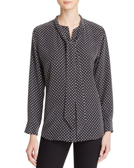 Equipment | Black Polka-dot Cotton and Silk-blend Shirt | Lyst