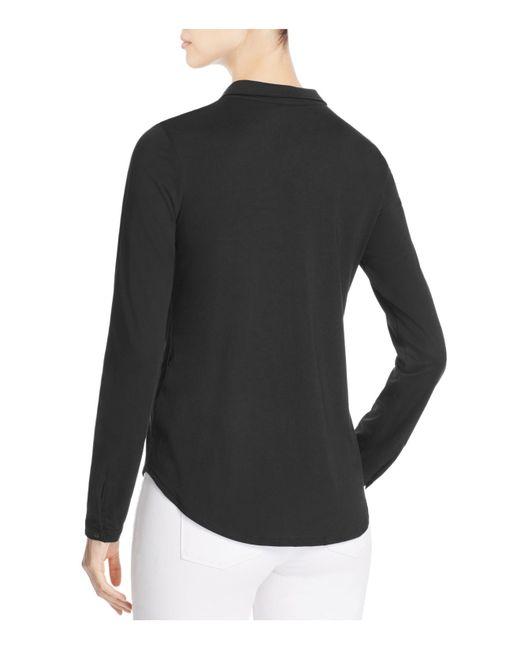 Eileen Fisher Cotton Knit Button Down Shirt In Black Lyst