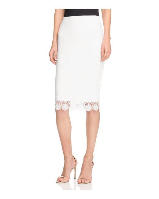 aqua lace trim pencil skirt in white lyst