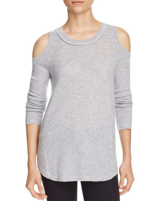 Aqua | Gray Cashmere Cold Shoulder Cashmere Sweater - 100% Exclusive | Lyst