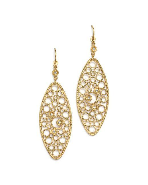 Roberto Coin   Metallic 18k Yellow Gold Bollicine Diamond Oval Earrings   Lyst