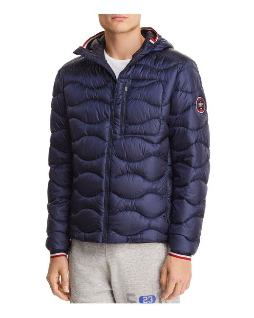 Superdry - Blue Wave Quilted Hooded Jacket for Men - Lyst