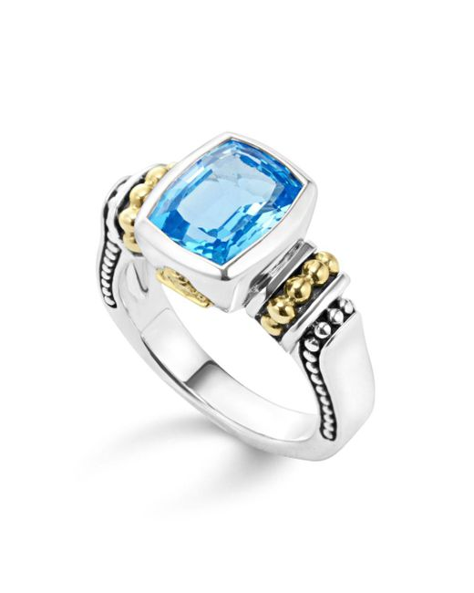 Lagos - 18k Gold And Sterling Silver Caviar Color Small Ring With Swiss Blue Topaz - Lyst