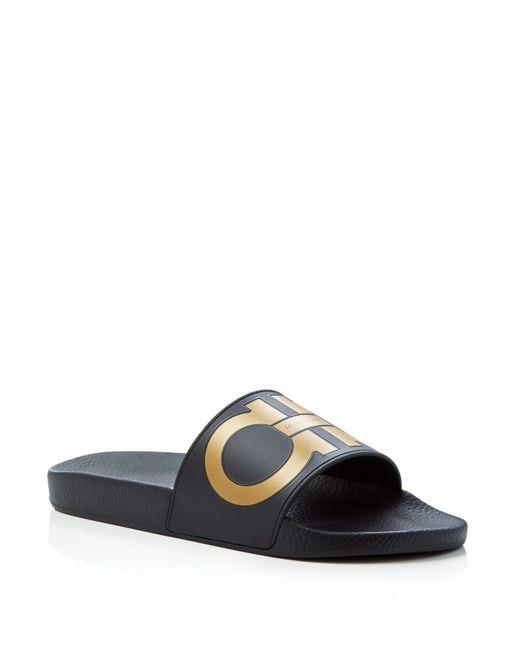 Ferragamo | Black Men's Groove Slide Sandals for Men | Lyst