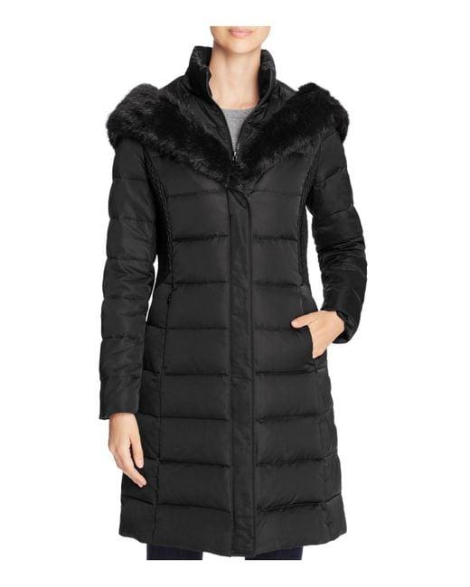 T Tahari | Black Faux Fur Trim Hooded Down Coat | Lyst