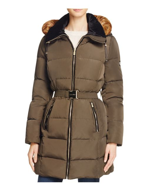 Calvin Klein | Green Belted Faux Fur Trim Down Coat | Lyst