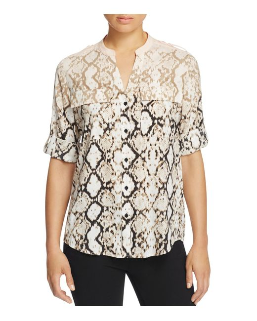 Calvin Klein | Multicolor Lace-up Neck Printed Roll-tab Sleeve Top | Lyst
