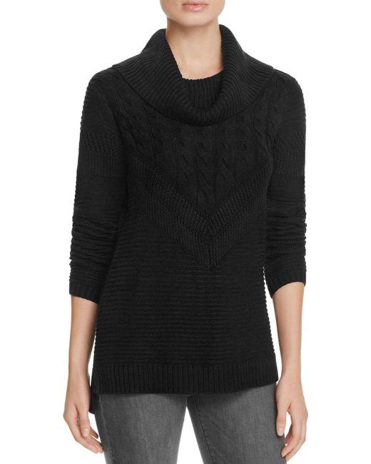 Calvin Klein | Black Mix Stitch Cowl Neck Sweater - 100% Bloomingdale's Exclusive | Lyst