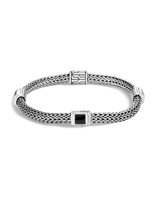 John Hardy | Metallic Sterling Silver Classic Chain Four Station Bracelet With Black Onyx | Lyst