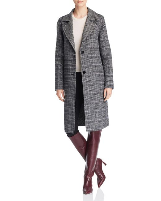 Bernardo - Black Contrast Collar Plaid Coat - Lyst