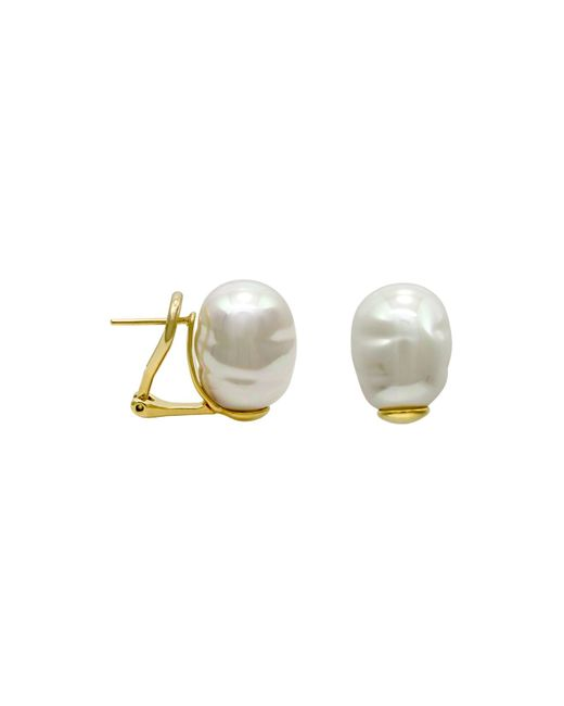 Majorica | White Simulated Baroque Pearl Stud Earrings | Lyst