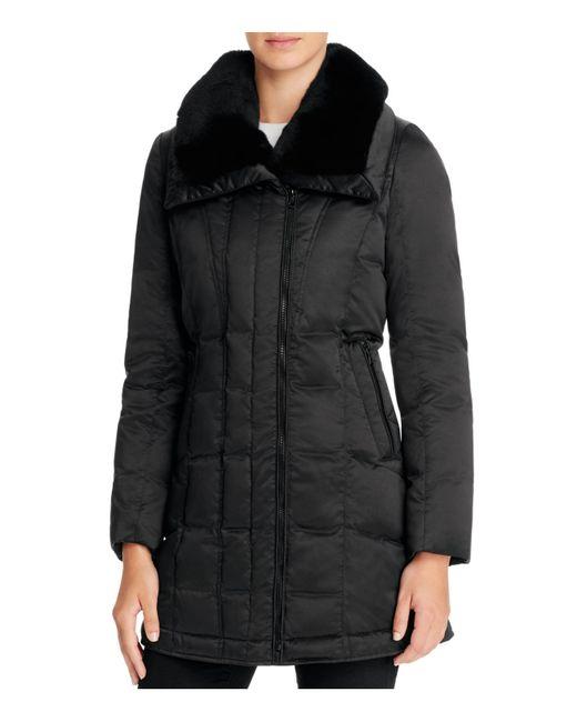 Trina Turk   Black Adrianna Rabbit Fur Trim Down Coat   Lyst